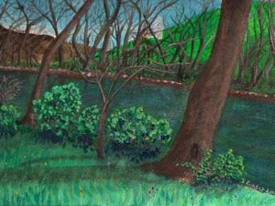 Early spring 2010 on Sherman Creek. Acrylic.