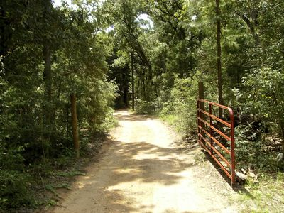 Bastrop cottage rental - The private, gated driveway