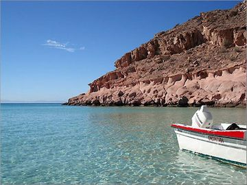 Docking our boat in the crystal clear waters of the Sea of Cortez.