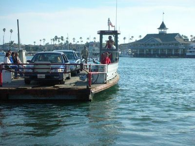The Balboa Island Ferry will take you over to the ocean