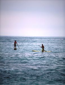 Spreckelsville estate rental - Hoe He'e Nalu - Stand Up Paddling in front of home.
