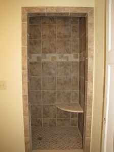 First floor custom tile shower