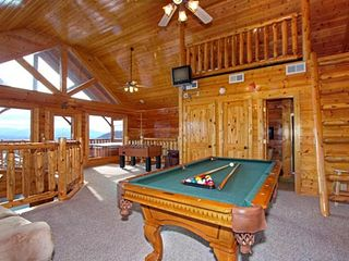 Pigeon Forge cabin photo - Pool Table, sleeping loft, foosball table and... The View!