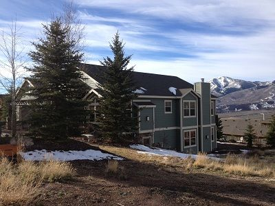 Park City house rental - Looking west from street Deer Valley in the background