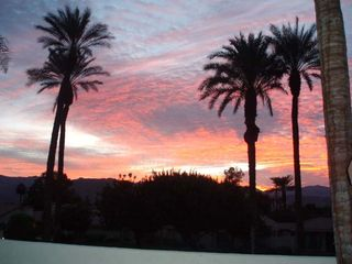 Sunset view from courtyard - Palm Desert condo vacation rental photo