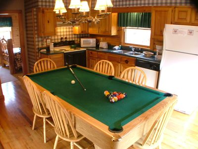 The Pool Table has a carefully designed top for dinning that fits snuggly