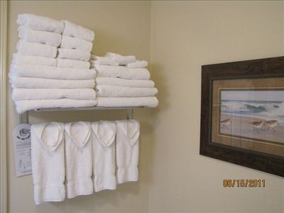 Towels for your convenience are supplied at start of your stay (as shown).