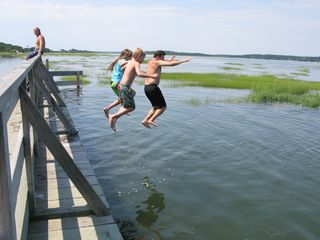 Wellfleet house photo - Jumping off Lieutenant Island Bridge at high tide.