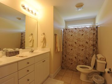 Hall bathroom shared by middle bedroom and front bedroom