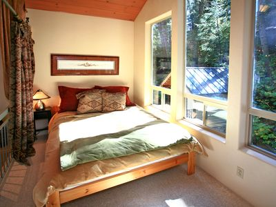 Sundance house rental - Queen Bedroom Surrounded by Tapestries and Views of Stream