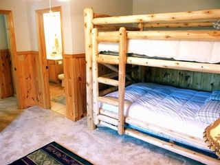 Ol' Yellar bedroom sleeps 6- 1Queen Bunk & a FULL LOG BED--FOR ADDED CONVENIENCE - Pigeon Forge cabin vacation rental photo