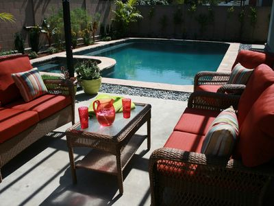 Anaheim house rental - Your new sparkling pool and hot tub will provide endless hours of relaxation.