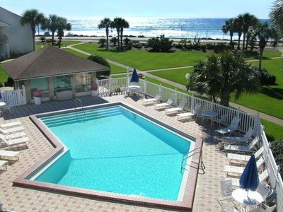 View of the pool and Gulf from one of your two balconies