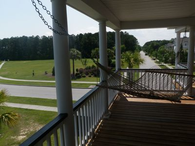 View from Upstairs Southern Porch with Hammock overlooking park