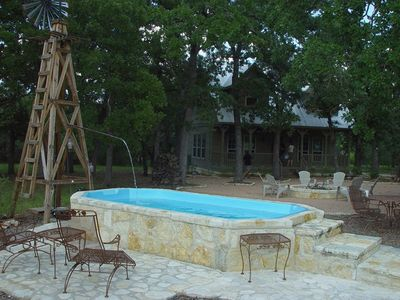This Texas size hot tub seats 14 guests.