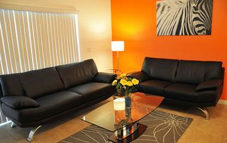 Sun Lake condo photo - Living room with Stylish Italian Sofa!