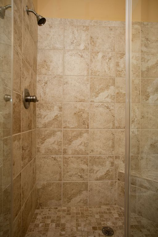Master walk-in tiled shower.