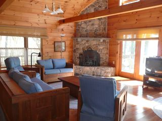 Wolfeboro cabin photo - Living room with cable tv and wireless internet. Indoor fireplace cannot be used