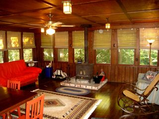 Seven Springs cabin photo - Great Room w/17 windows overlooking stream. Sounds of waterfalls heard!