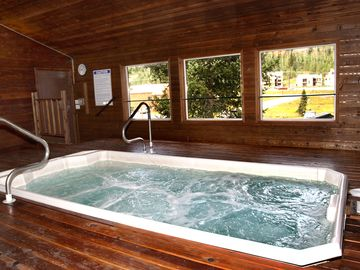 Huge Jacuzzi in clubhouse, right next to the game room.