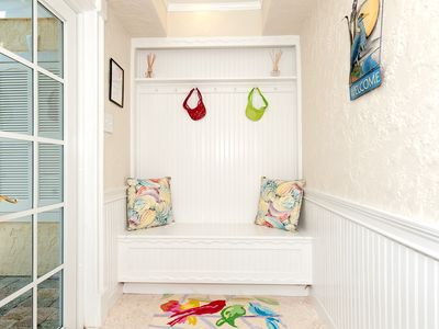 Lower Level Entrance. Storage bench with beach towels, toys, for your enjoyment