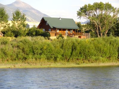 A view of the home from across the Yellowstone River.
