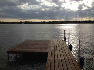 Cedar Lake cabin photo - 12' x 12' Deck at end of pier for fishing or enjoying the sunset.