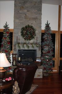 Great Room Fireplace Decorated for the Holidays