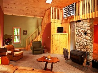 Grand Rapids cabin photo - Living room. Wood stove with a full glass front.
