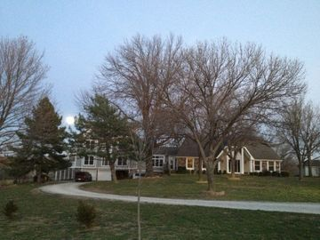 Kansas City estate rental - Our home from the lane in late fall.