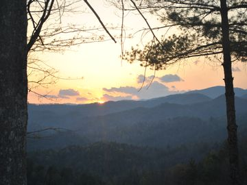 Boone cabin rental - Sunset view from the porch