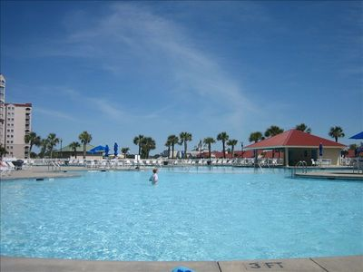 North Tower large salt water pool with hot tub located at entrance of Barefoot