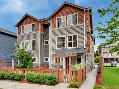 Seattle townhome rental - Front of Audrey's Landing sits on a quiet, tree lined street with sidewalks.