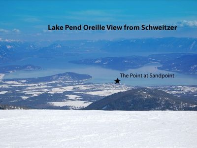 On Lake Pend Oreille, but JUST 12 miles from the TOP of Schweitzer Mountain.