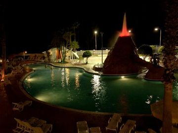 The Volcano Pool is great at night