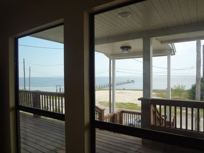 View from inside the house looking out over the Laguna Madre.