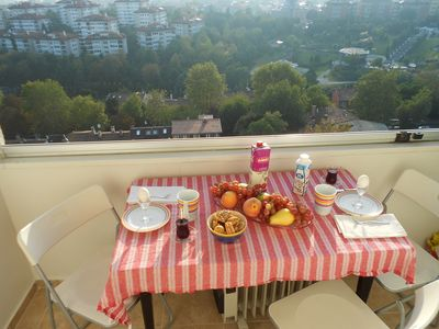 Breakfast on the balcony - View of Bosphorus and bridge connecting Asia/Europe