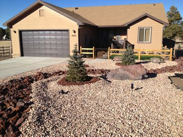 Williams house rental - Front Yard, has a private courtyard and deck. Enjoy the view of Bill Williams Mtn
