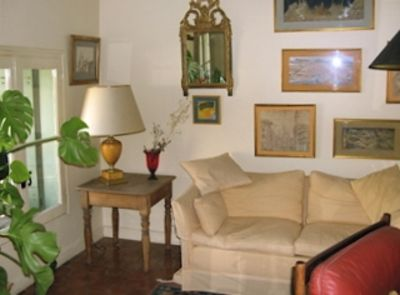 Uzes apartment rental - Corner of the living room overlooking Place aux Herbes