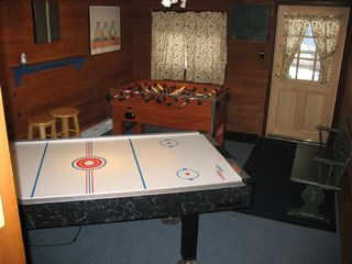 Game Room features air hockey and foosball. - Locust Lake chalet vacation rental photo