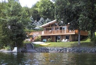 North Hatley cottage rental - The cottage, viewed from the raft