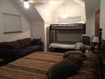 BR # 3 King, bunk and pull out sofa. Also king mattress on ground in alcove .