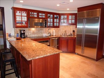 Upscale Kitchen with Sub Zero Fridge and Wolf oven and cooktop