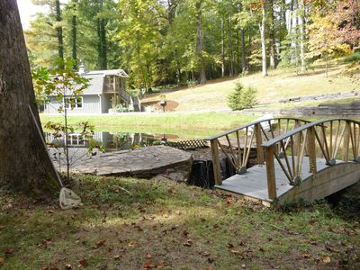 Foot bridge to the hammock and firepit