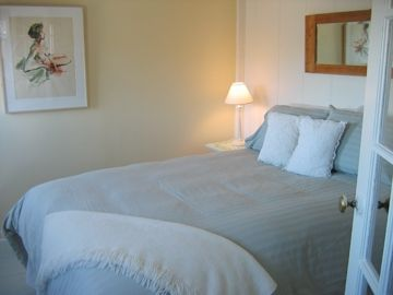 Port Clyde cottage rental - Downstairs queen room has backyard & ocean views.