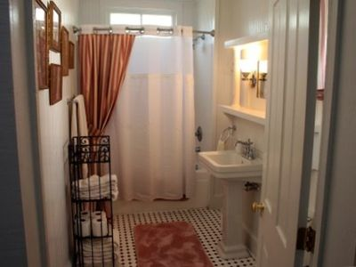 Your bright and sunny tub/shower bathroom adjacent to the master bedroom.