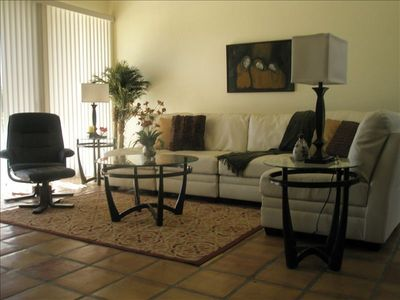 Living Room with All Brand New Furniture Including Leather Couch & Love Seat