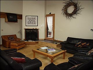 Vail house photo - Living Area - Hardwood Flooring, Gas Fireplace, TV, Deck Access