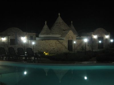 Trullo is well illuminated by night