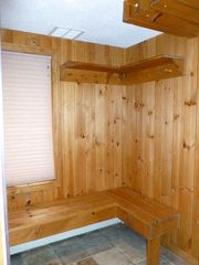 Bretton Woods townhome photo - Entranceway with coat hooks and ceiling ski racks